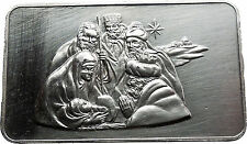 Birth of Jesus Christ Nativity Scene Calvin Massey 1oz .999 Silver Bar i38055