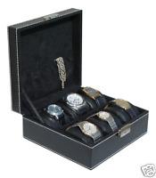 6 WATCH CASE STORAGE DISPLAY BOX  BLACK Faux Leather W/WHITE STITCHING