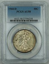 1944-D Walking Liberty Silver Half Dollar, PCGS AU-58, Engraved Initials Variety