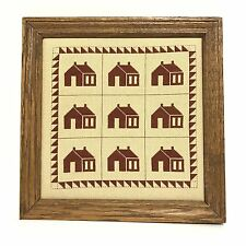 Wood Cross Stitch House Pictures Brown Hand Made Square Fabric Frame Wall Decor