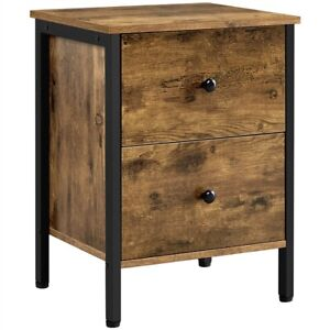 2 Drawers End Table, Rustic Side Sofa Telephone Table for Bedroom Living Room