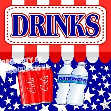 "Drinks Decal 14"" Cold Soda Water Concession Food Truck Restaurant Vinyl Stickers"