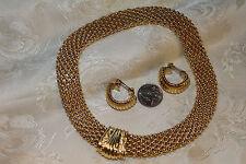 VINT GOLD TONE FLEXABLE MESH COLLAR MAGNETIC NECKLACE+HALF HOOP CLIP EARRING