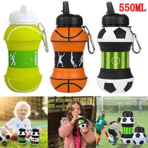 Folding Football Tennis Basketball Travel Water Bottle Kids Boys Girls Gifts