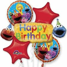 123 SESAME STREET ELMO Happy Birthday Party Favor 5CT Foil Balloon Bouquet