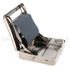 NEW Metal Automatic Cigarette Tobacco Rolling Machine Box Tin Roll ups Silver UK