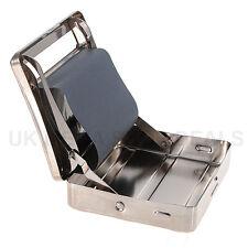 NEW Metal Automatic Cigarette Tobacco Rolling Machine Box Tin Roll ups Silver UK