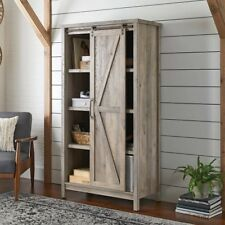 Farmhouse Storage Cabinet Wooden Modern 5 Adjustable Shelves Rustic Gray Finish