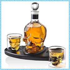 New listing Skull Shot Glass Whisky Wine Tequila Skeleton Head Crystal Bottle Glasses Set 🔥