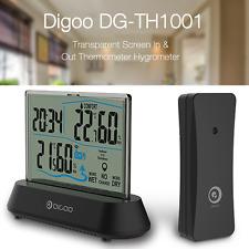 Digoo Digital LCD Termometro Igrometro IN&OUT TRASPARENTE Metro Sensore Orologio