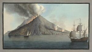 "William Hamilton : ""View of the Island of Stromboli"" (1776) — Fine Art Print"