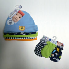 Newborn Baby Boys I'm the King 5 Caps & 3 No-Scratch Mittens 0-6 mo 100%Cotton