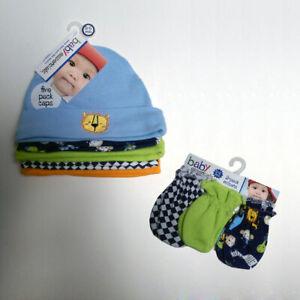 Newborn Baby Boys I'm the King 5 Caps & 3 No-Scratch Mittens 0-6 mo 100%Cotton