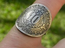 Signet ring Aztec Calendar Coin feather sterling silver feather adjustable