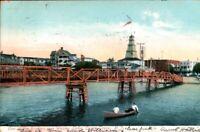 Vintage Postcard Ocean Grove NJ c1907 Bridge over Wesley Lake. pb5