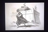 Incisione d'allegoria e satira La fuga di Carlo Gazzola Don Pirlone 1851
