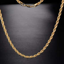 Fashion Womens Yellow Gold Filled Rope Chain Necklace Fit Girl Free shipping