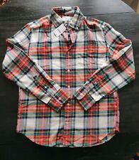 J.Crew Crewcuts Boys 14 Shirt Flannel Ivory Red Green Tartan Plaid Long Sleeve