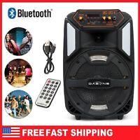 "Portable Party LED Speaker 8"" USB FM Control Bluetooth Loud Sound Rechargeable"