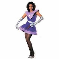 Space Alien Costume Ladies 2Pc Purp/Silver Bodysuit W/ Collar Skirt  Sm