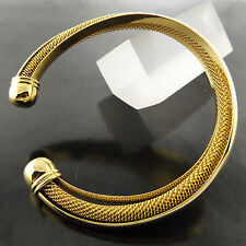 FSA653 GENUINE REAL 18K YELLOW G/F GOLD CLASSIC ANTIQUE CUFF BANGLE BRACELET
