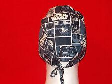 Unisex Surgical Scrub Hat Cap Medical Skull Women Men Do Rag Handmade Tie Back