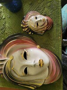 Set of 3 Vintage Clay Art Ceramic Wall Decor Mask