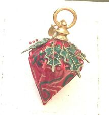 One Katherine'S Collection Chritmas Ornament Silk Red Green Gold Beaded