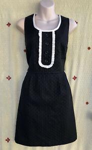 NEXT Vintage Styled Black with White Frill & Trim Shift Dress Pockets 12/14