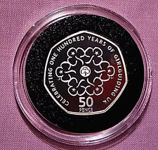 2010 ROYAL MINT GIRL GUIDES SILVER PIEDFORT PROOF 50p COIN IN CAPSULE