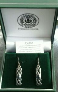 Brand New In Box Toucan of Scotland Ancient Celtic September Knot Hook Earrings