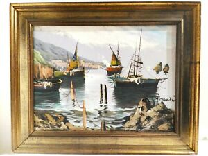 Peinture Sur Tela Paysage Port Avec Navi Signé Giannini '900 62x67 CM