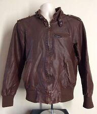 Vtg 90s Members Only Faux Leather Jacket Brown M Polyurethane