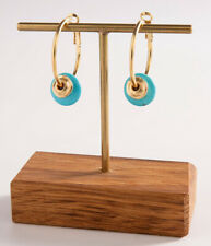 Yellow Gold 24K Plated Hammered Disc Gipsy Hoop Earrings Dangle Turquoise Stone