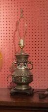 Antique Vintage Vase Lamp Chinese CLOISONNE Champleve Dragons James Mont style