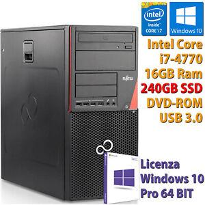 PC COMPUTER DESKTOP RICONDIZIONATO P720 i7-4770 RAM 16GB SSD 240GB WINDOWS 10