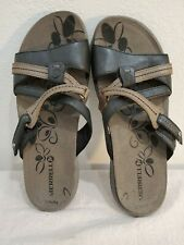 Merrell Womens Slides Sandals Black Leather Strappy Flat Heel Hook Loop
