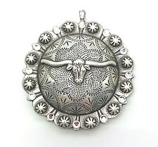 Concho Longhorn Cowgirl Western Chunky Pendant Silver tone Rhinestone Necklace