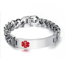 Stainless Steel Chain Medical Alert ID Bracelet Bangle One Layer Hand Link