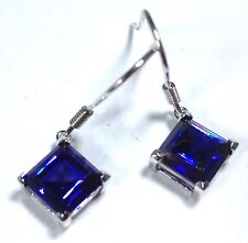 tanzanite colour Siberian quartz square drop earrings, solid Sterling Silver.