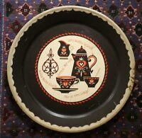 """Vintage 70s German """"Kaffee Klatch"""" Coffee Red Black Large Metal Serving Tray 19"""""""