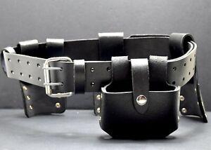 Leather Tool Belt Rivet Reinforced Scaffolders Tool Belt 4 Pockets / Pouches
