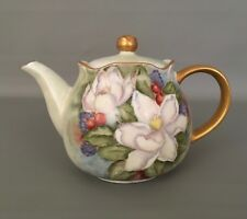 ROBINSON Design Group Hand-painted Flower Tea Coffee Pot w/Gold Trim RARE &HTF!