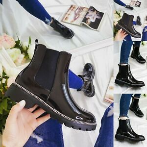 LADIES WOMENS PATENT FLAT BLOCK CHUNKY HEEL STUDS CHELSEA ANKLE SHOES BOOTS UK