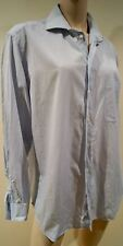 ARMANI COLLEZIONI Menswear Blue Cotton Small Check Formal Business Shirt 41 / 16