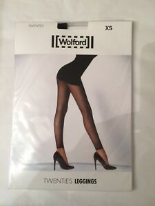 Wolford Black Twenties Style 20's Micro Fishnet Leggings Size XSmall