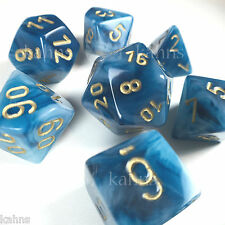 Chessex Dice Poly - Phantom Teal w/ Gold - Set Of 7- 27489 - Free Velvet Bag DnD