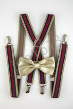 Cool Tan Bow Tie Tan Red Navy Blue Suspender Combo Set Wedding SDBT121