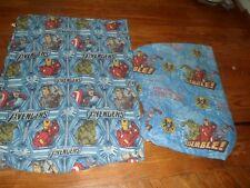 Marvel Avengers Twin Size Flat Sheet & Fitted Sheet. blue w Hulk,Ironman,More