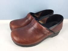 Dansko Brown Leather Professional Clogs Closed back EUC 9.5 10 40 classic career
